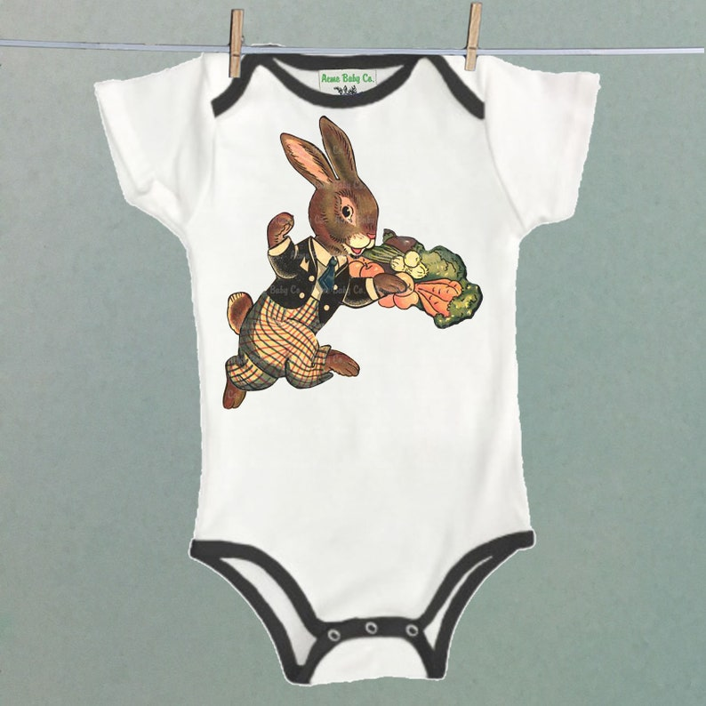 Bunny Rabbit with a Basket of Veggies Great for unique retro layette Vegan or Vegetarian Retro Bunny One Piece Bodysuit with Colored Trim