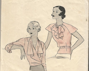 Vintage Reproduction Pattern 1930s 30s Hollywood number 698 Bust 36 Blouse