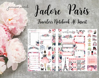 J'Adore Paris Stickers - Travelers Notebook | Choice of hair and skin colors