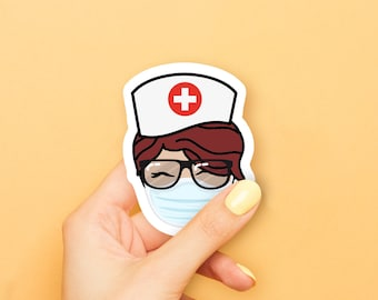 Red Haired Coffee Girl with Nurse Hat & Face Mask Sticker
