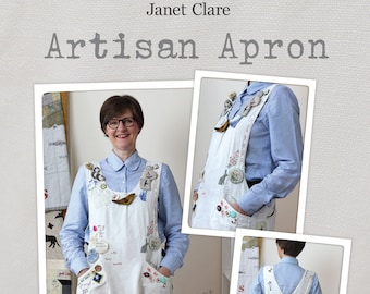 Artisan Apron Pattern - make and embellish your own crossover apron and wear your creativity! Includes S, M, L, XL, 2XL, 3XL and 4XL sizes