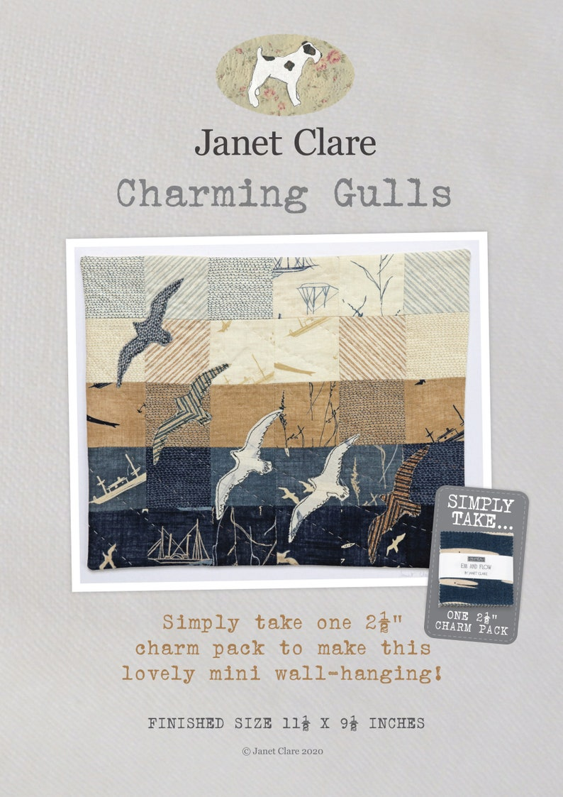 Charming Gulls Small Wall Hanging Create your own charming seaside picture with this design from Janet Clare using one mini charm pack