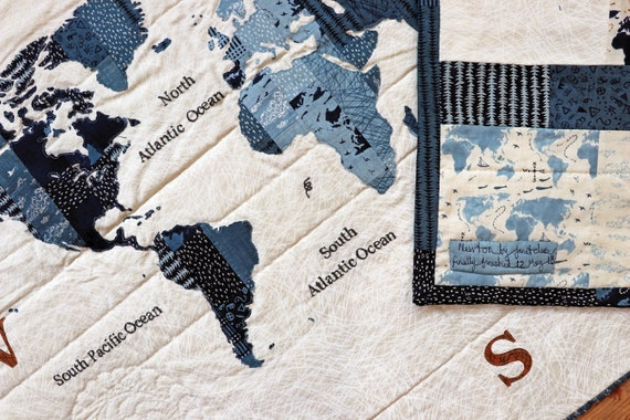 Newton- Quilt Pattern-A stunning world map wall hanging using fusible  appliqué and free-motion stitching designed to be layer cake friendly!