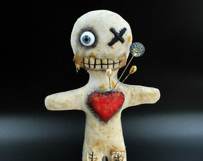 Haunted Mini Halloween Voodoo Doll -  Folk Art  Creepy Primitive Handmade Horror Gothic Rag Doll