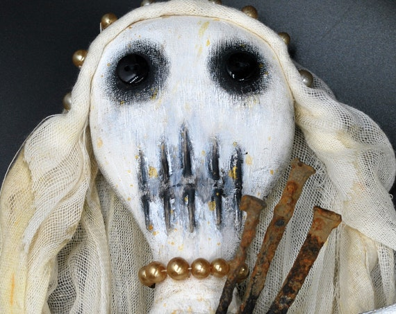 Haunted Voodoo Doll Bride Erzulie Freda Veve Folk Art  Creepy Primitive Handmade Horror Gothic Rag Doll