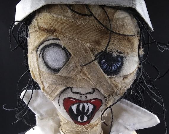 Murderous Nurse Hatchett - Monster Handmade Creepy Horror Gothic Steampunk Handmade Folk Art Primitive Rag Dolls