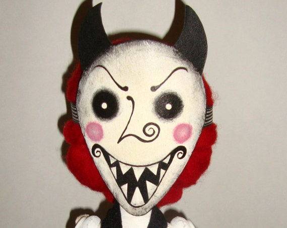 Murderous Mechanical Alice - Monster  Handmade Creepy Horror Gothic Steampunk Handmade Folk Art Primitive Rag Dolls