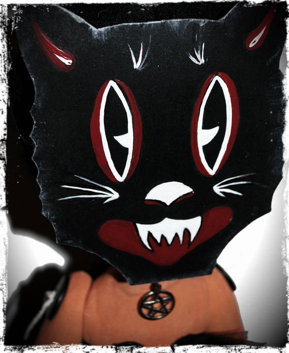 Masked Halloween Pumpkin Girl - Monster Handmade Creepy Horror Gothic Steampunk Handmade Folk Art Primitive Rag Dolls