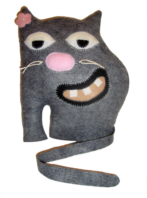 Primitive Grey Stuffed Plush Cat Cute Felt Plush Stuffed Cat Pillow Doll