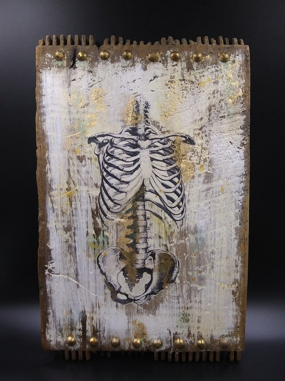 Wall Decor Vintage Wood Skeleton Gothic Horror