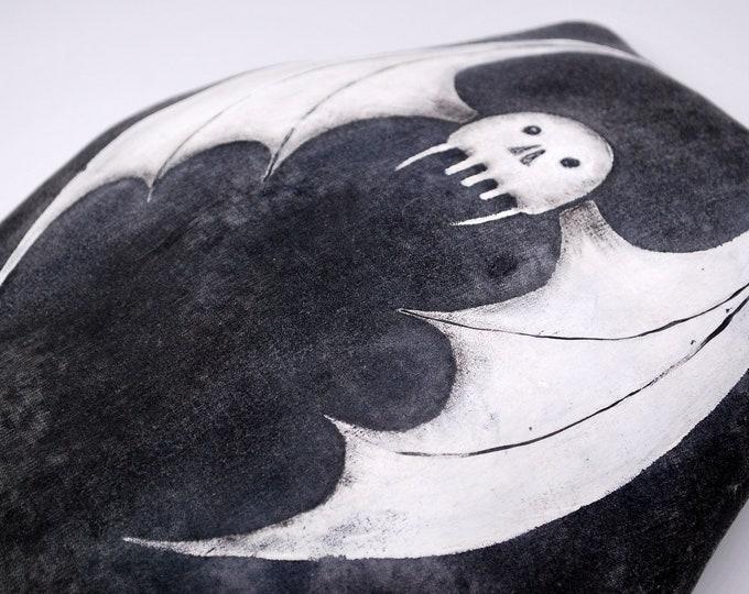 Coffin Bat Decorative Pillow - Primitive Handmade Handpainted Bat Stuffed Vampire Halloween Pillow