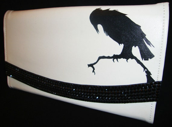 Recycled Gothic Steampunk White Vinyl Vintage Handpainted Clutch Purse With Black Crystals