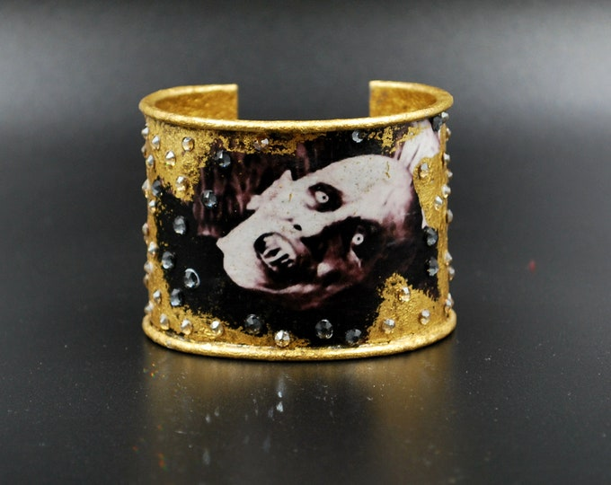 Vampire - Gold Metal Leaf Medieval Gothic Steampunk Cuff Bracelet With Swarovski Crystals