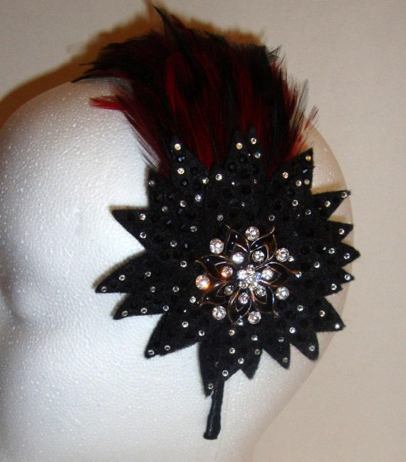 Fascinator Gothic Derby Feathered Steampunk Black and Red Crystal Headband