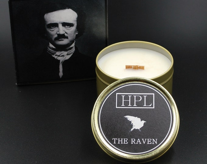 The Raven -  Literary Writer Candle | Horror Haunted Candle | Vegan Friendly Candle | Gothic Soy Candle