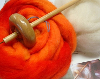 Drop spindle Kit With Fire Red Spinning Fiber