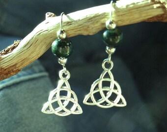 Celtic Trinity Knot Malachite Earrings