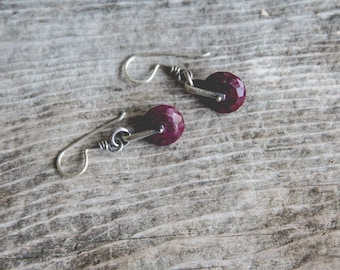 Magpie Earrings -- Large Ruby Wheels