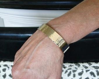 Gold Cuff Bracelet, 14K Gold - 1/20, Hammered Adjustable Cuff For Women or Men - 12mm Wide