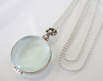 Glass Locket Necklace,With  Ball Chain, Sterling Silver Clear Glass for Relics, Mementos, Keepsakes, or Photos
