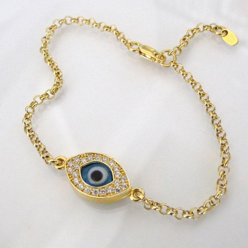Evil Eye Bracelet In Gold As Seen On Kim Kardashian And Kelly image 0