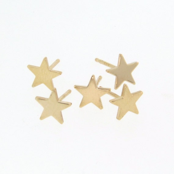 d0bd3f25085 Heart Earring Studs - As Seen on Emma Stone - Tiny 14k Gold Post Earrings  In Yellow or White Gold