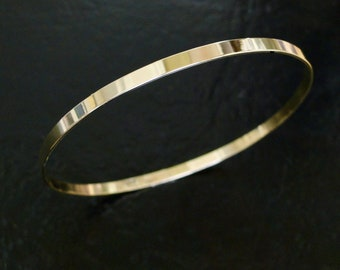 Gold Bangle Bracelet, 2.75mm Solid 14K Yellow, White, or Rose Gold Bangles, Gold Bangle For Women, Great Gift For Her