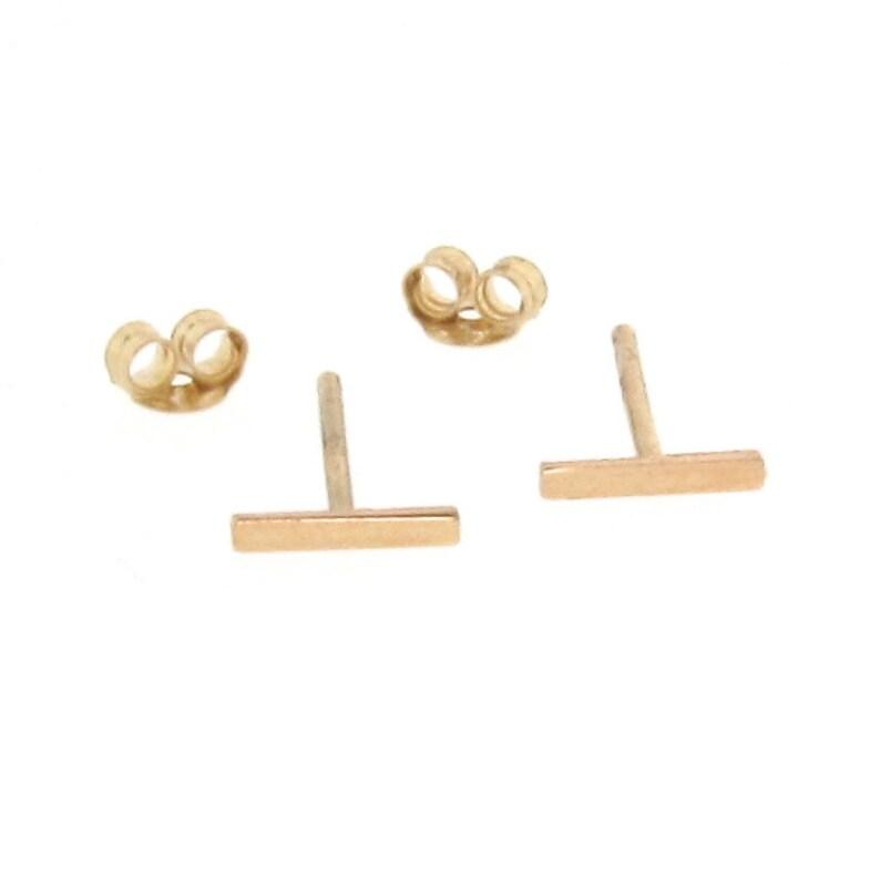 b851d5b9627 Gold Bar Earrings, Tiny Line Studs, Stud Earrings, Staple Earrings - 14K  Yellow or White Gold, Celebrity Inspired