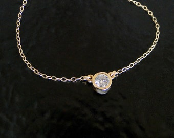 Diamond Solitaire Necklace .25 Carat Genuine Diamond on 14k Yellow Gold, Layering Necklace As Seen On Many Celebrities
