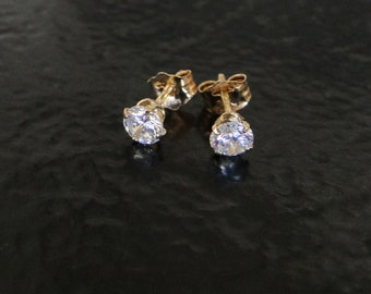 14k Gold Studs With Threaded Ear Posts, 4mm CZ - Cubic Zirconia, Perfect For All Ages Including Youths, Unisex