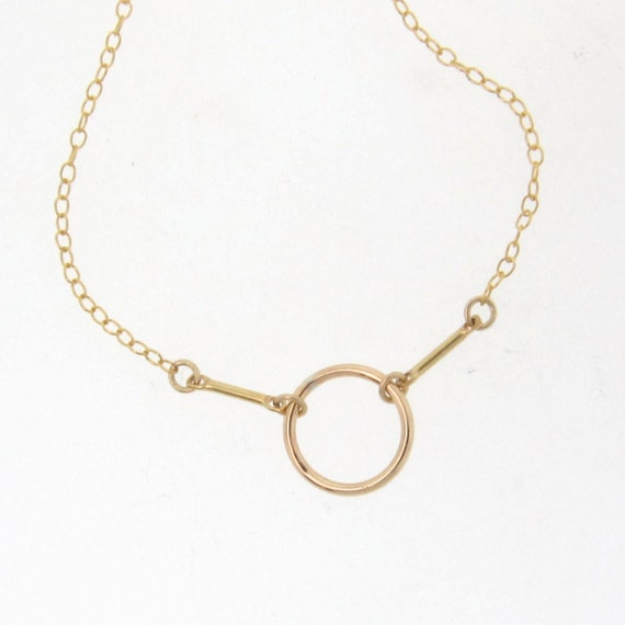 Gold Circle Outline Necklace Gold Filled or Sterling Silver Karma Necklace 10mm Circle And Bar Necklace Simple And Modern