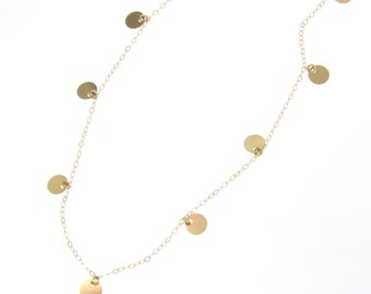 Small Disc, Coin Drop Necklace - 14K Gold Floating Dots - Simple And Dainty Circle Dangle Necklace