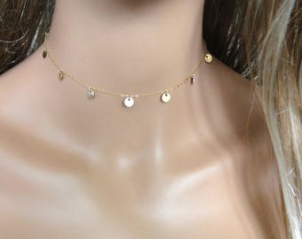 THE REAL Mimi Ikonn Gold Coin Disc CHOKER Necklace, Choker Length, Featured in her Luxy Hair Videos, Gold Filled, or Sterling Silver
