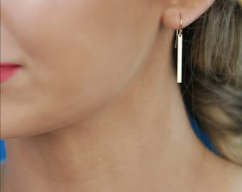 Gold Bar Earrings - 14K Solid Gold Dangle Earrings, Stick Earrings, 14k Yellow, White, or Rose Gold, With Hook Ear Wires or Lever Backs