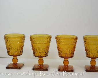 Set of 4 Vintage Amber Glass Goblets by Indiana Glass, Colony Park Pattern
