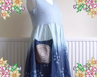 M - L. Shades of blue tunic dress.  upcycled preloved eco fashion refashioned altered clothing recycled refashion
