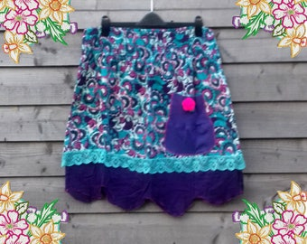 L Ditsy little skirt in purple and turquoise.  upcycled preloved eco fashion refashion altered clothing plus size lagenlook