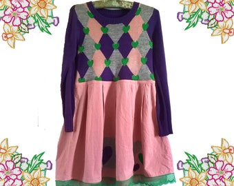 SALE Crazy Cute little upcycled retro dress.Sweater Dress. Pink Purple Grey.  Preloved Handmade Refashioned Clothing. Size Small to Medium.
