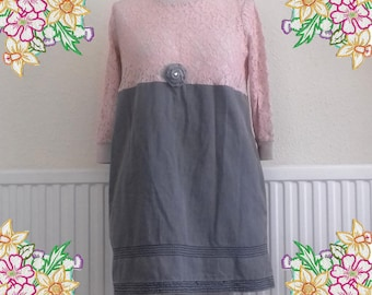 M. Grey denim and pink lace dress.  Upcycled Refashioned Preloved Refashion Recycled Clothing. Medium