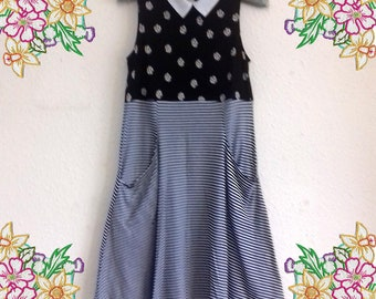 Small - Medium. Daisy print and stripes stretch cotton dress.  upcycled preloved eco fashion refashioned altered clothing