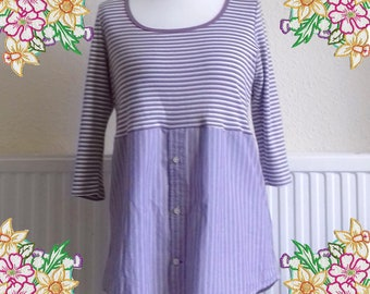 M - L. Mauve shirt dress.  upcycled preloved eco fashion refashioned altered clothing recycled refashion