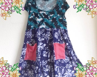 XL 1X 2X Mixed print cotton knit dress.  upcycled preloved eco fashion refashion altered clothing plus size lagenlook