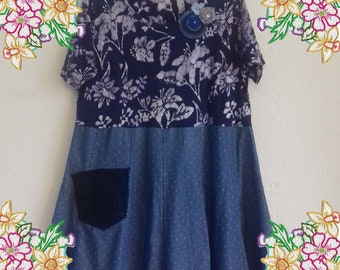 1X 2X Denim tunic dress in blue with batik and corsage.   Upcycled Refashioned Preloved Refashion Recycled Clothing Plus size extra large