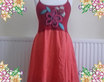 Small - Medium. Red and orange summer dress with applique.  upcycled preloved eco fashion refashioned altered clothing