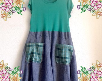 Large. Green and denim tunic dress with plaid pockets.  upcycled preloved eco fashion refashion altered clothing plus size lagenlook