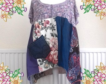 XL 1X 2X  Patchwork tunic dress / top.  Upcycled Refashioned Preloved Refashion Recycled Clothing
