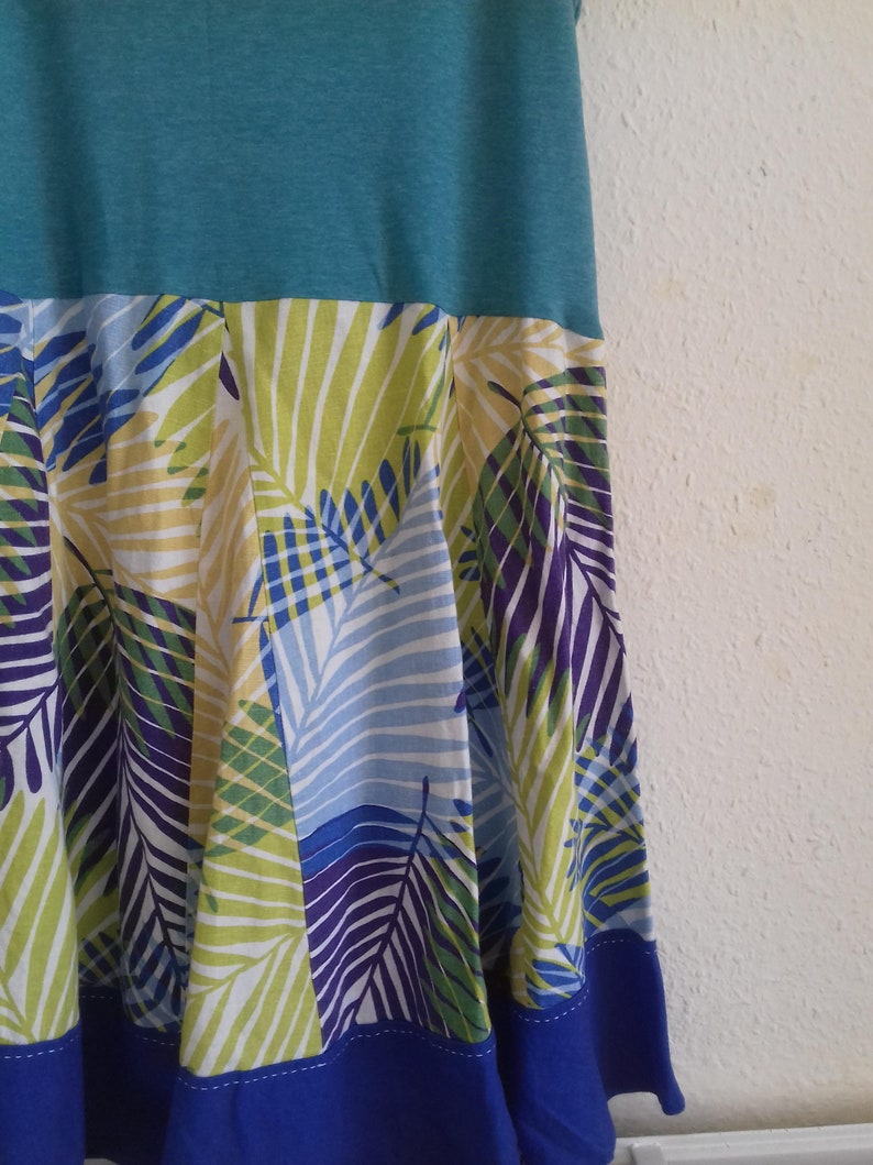 Linen palm print tunic dress 1X 2X upcycled preloved eco fashion refashioned altered clothing recycled refashion