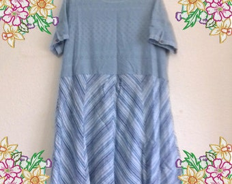 2x 3x Fresh blue cotton tunic dress summer frock.  Upcycled Refashioned Preloved Eco Clothing.  Recycled Fashion.