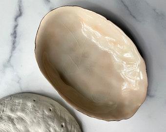 SALE - Large Peach Blush Abalone Bowl - Gold Trim, Abalone Shell,  Beach Decor,  Ring Dish, Trinket Dish, Soap Dish,  Gold Small Bowl