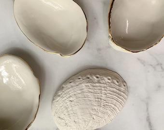 Small Gold Trim Abalone Bowl - Abalone Shell Beach Decor Ring Dish Trinket Dish Soap Dish Gold Small Bowl